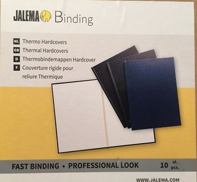 Box of 10 x Jalema 1310619 Black A4 Thermal Binding Covers Thermo Hardcover