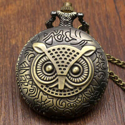 26AE Owl Fob Pocket Watch Hanging Chain Pendant Necklace Retro Pocket Watch