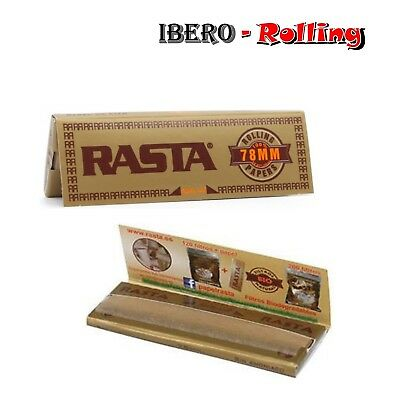Papel liar RASTA natural, 1 caja de 25 libritos papel fumar marron barato 78mm