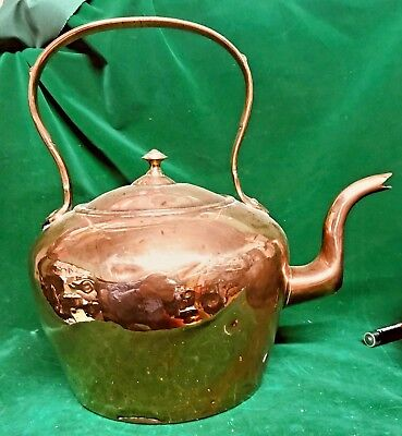 Beautifully Patinated  Original Antique Copper Tea Kettle With Dovetailed Seam