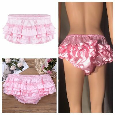 Shiny Satin Ruffled Bloomer Mens Skirted Panties Sissy Briefs Underwear Panties
