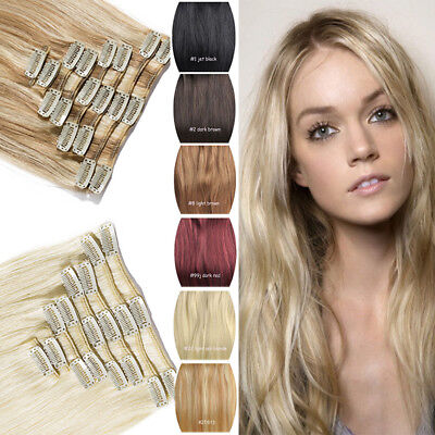 NEW ARRIVAL Clip In 100% Real Remy Human Hair Extensions Black Blonde Piano AU