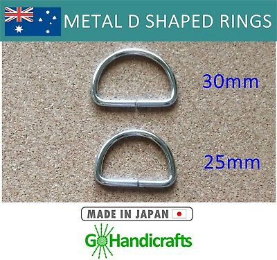 10/pk METAL NICKEL DEE D RINGS 25mm 30mm NON WELDED 3mm THICK JAPAN