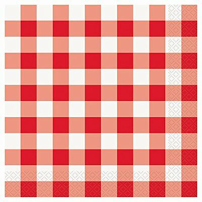 Red and White Gingham Party Napkins, 16ct
