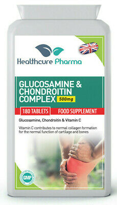Glucosamine and Chondroitin 500/400mg 180 Tablets Complex With Vitamin C UK Made