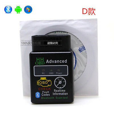 (US) Mini ELM327 V2.1 OBD2 II Bluetooth Diagnostic Car Auto Interface Scanner d