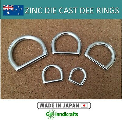 4/pk Solid D Dee Rings Zinc Die Cast No Gap 10mm 15mm 20mm 25mm 30mm Dog Collars