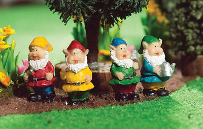1:12 Scale Set Of 4 Assorted Jolly Gnomes Dolls House Garden Fairy Accessory