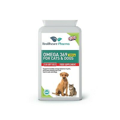 Omega 3,6,9 Fish Oil Complex 1000mg Vitamin E for Cats & Dogs 120 Softgels UK