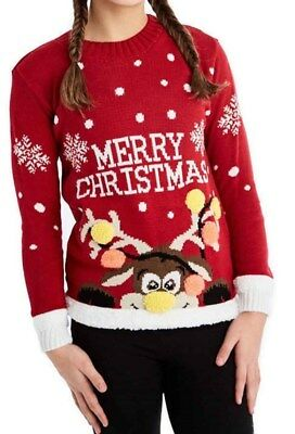 Kids Girls Boys Reindeer 3D Pom Antlers Christmas Xmas Rudolph Knitted Jumper