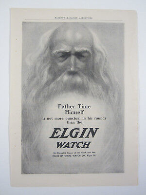 Antique Print Ad 1904 Elgin Watch Father Time is Not More Punctual Elgin, IL