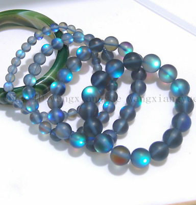 6/8/10/12mm Natural Gray Gleamy Rainbow Moonstone Round Gems Beads Bracelet AAA+