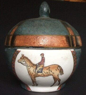 Race Horse Trinket Candy Dish Bowl Porcelain Decor Teal Box Animal
