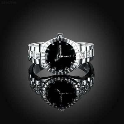 16FB BDCC Creative Women Quartz 925 Silver Finger Ring Watch Personality Jewelry