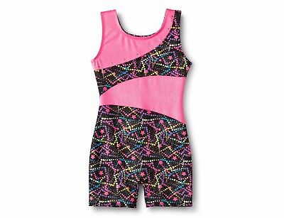 Freestyle® by Danskin® Girls' Dance, Gymnastic Biketard - Black/Pink Medium 7/8