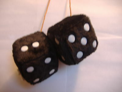 "1 Fuzzy Dice Black  3"" Inches Hang On  Your Car Mirror"