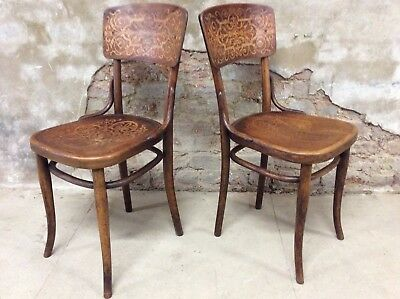 Matching Pair Of Original Vintage Thonet Bentwood Cafe Bistro Chairs