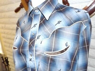 Rockabilly VINTAGE Western Shirt Pearl Button Long Sleeve Blue Cactus 12 / 34  S
