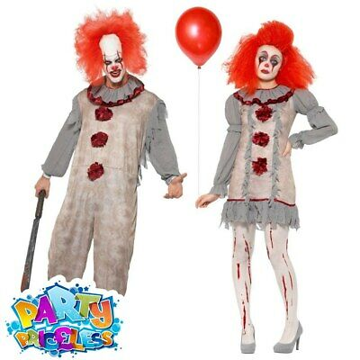 Vintage Scary Clown Costume Mens Ladies Halloween Adult Fancy Dress Pennywise