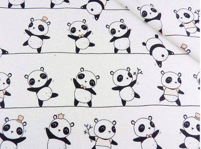 Panda on white cotton woven fabric, '64' wide, 135 gsm, sold by 1/2 and 1m