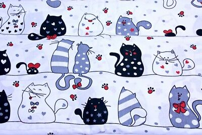 Big cats on white cotton woven fabric, '64' wide, 135 gsm, sold by 1/2 and 1m