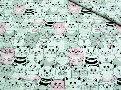 Cats in cinema cotton woven fabric, '64' wide, 135 gsm, sold by 1/2 and 1m