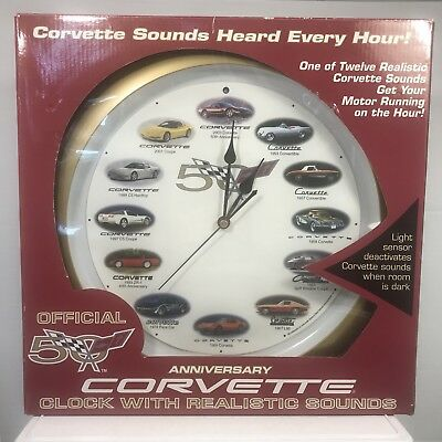 NEW IN BOX! CORVETTE 50th Anniversary Wall Clock with Realistic Car Sounds