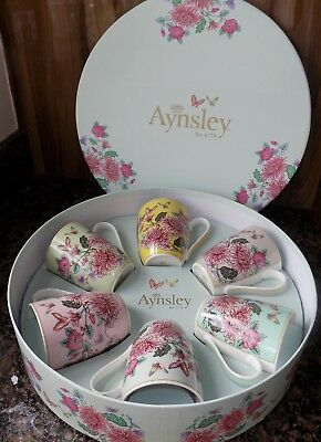 Aynsley Butterfly Garden Set Of 6 Mugs  No Clas50051  New, Vintage China Style