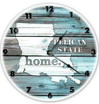 "12"" LOUSIANA TEAL RUSTIC LOOK CLOCK - Large 12 inch Wall Clock - Printed Decal"