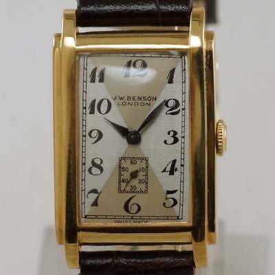 J.W.Benson Vintage 9 ct Solid Gold Men's / Lady's 15 Jewel Art Deco Watch 1940's