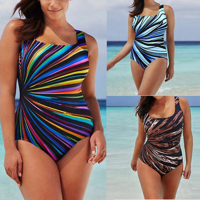 Women Plus Size One Piece Monokini Swimwear Printed Backless Bikini Swimsuit New