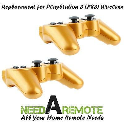 2x Gold Wireless Bluetooth Game Controller Pad For Sony PS3 Playstation 3 P3