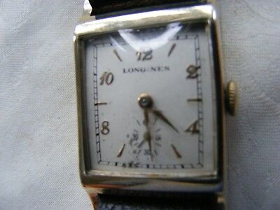 VERY RARE LONGINES 10k GOLD FILLED ART DECO STYLE  GENTS WATCH c1930s 17 JEWELS
