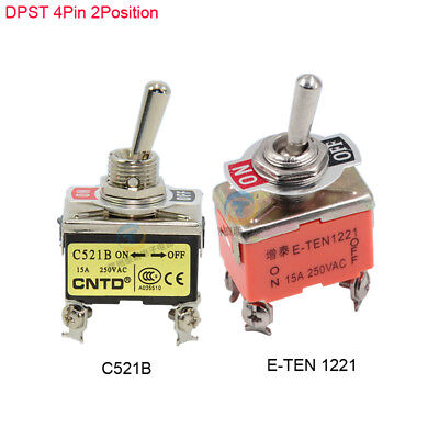 12mm On-Off Mini Toggle Switch DPST 4 Pin 2 Position 15A250V Latching Switch