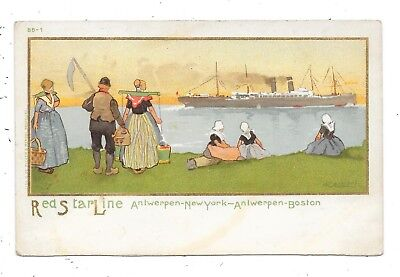 Nice Printed Advertising Shipping Postcard For The Red Star Line