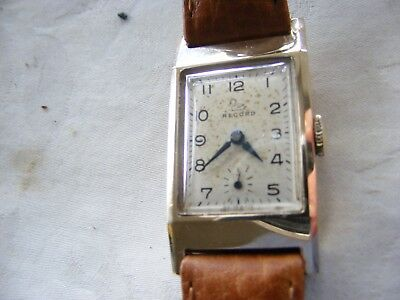 9k GOLD ART DECO RECORD GENTS WATCH C1930s 15 JEWELS PERFECT WORKING ORDER RARE