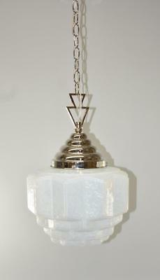 Opalescent Art Deco Skyscraper Form Chandelier Light Fixture W/Beehive Cap
