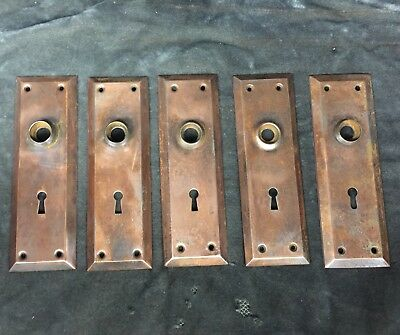 5 Matching Vintage Antique Door Knob Backplate Plate Covers