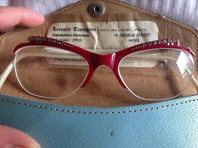 Genuine 50's 60's Red Cat eye Spectacles Glasse