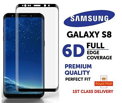 5D Curved Full Front Glue Tempered Glass Screen Protector Samsung S8 - Black