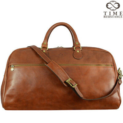 Italian Leather Mens Duffel Holdall Bag Brown Travel Luggage Large Genuine New