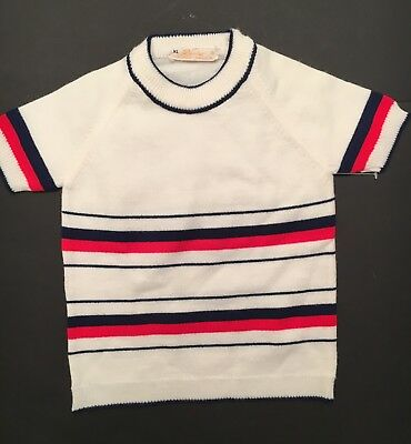 New Vintage red,blue & white baby sweater size XL