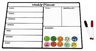 Magnetic Dry Erase Calendar  Weekly Planner with 2 Magnetic Markers and 10 icon