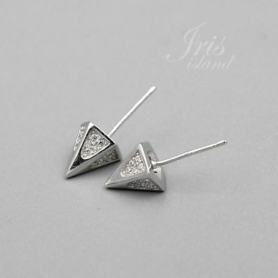 Cone Cubic Zirconia 925 Sterling Silver Stud Earrings With Micro Pave 03225 New