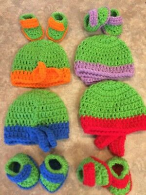 Choose 1 Crochet newborn -3 month Baby Ninja Turtles Hat Booties Set photo prop