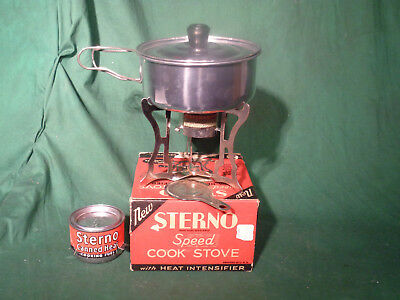 Vintage sterno camp stove No 25 box, sterno, and cook pot