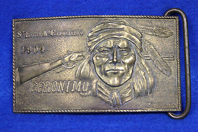Brass Belt Buckle St. Louis Mo. Exposition 1904 Geronimo by Montauk Silver Co