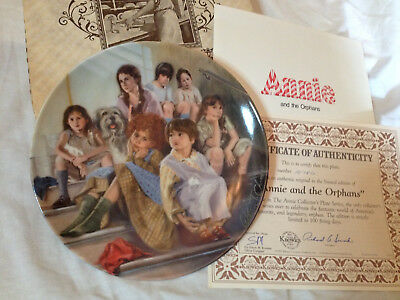 1984 KNOWLES ANNIE & THE ORPHANS COLLECTOR PLATE w/ORIGINAL BOX & C.O.A. MINT