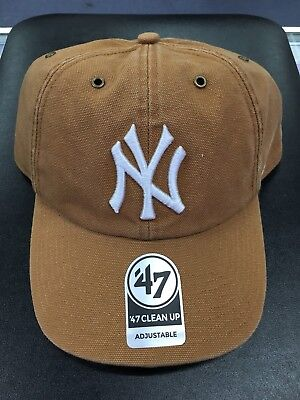 f77a605f1c121 Carhartt NEW YORK YANKEES  47 Clean Up Adjustable Beige MLB Baseball Hat   RARE