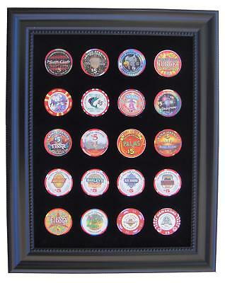 Black Casino Chip Display Frame for 20 Casino Poker Chips (not included)
